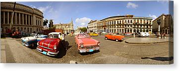 Old Cars On Street, Havana, Cuba Canvas Print by Panoramic Images