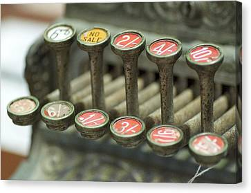 Old Cash Register Keys - Shillings And Pence  Canvas Print by Sally Nevin