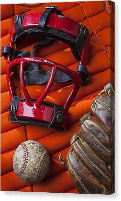 Old Catcher Mask Canvas Print by Garry Gay