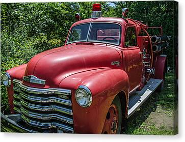 Old Chevy Fire Engine Canvas Print by Susan  McMenamin