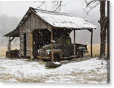 Old Chevy In The Snow Canvas Print