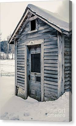 Old Chicken Coop Etna New Hampshine In The Winter Canvas Print by Edward Fielding