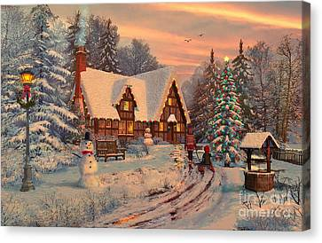 Old Christmas Cottage Canvas Print