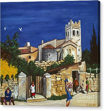 Old Church And Flower Girl Canvas Print by William Cain
