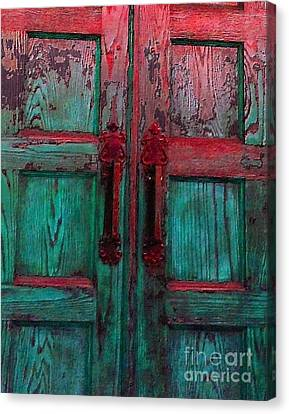 Canvas Print featuring the photograph Old Church Door Handles by Becky Lupe