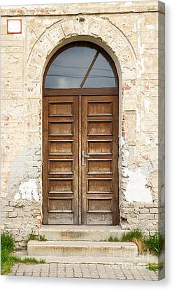 Canvas Print featuring the photograph Old Church Door by Les Palenik