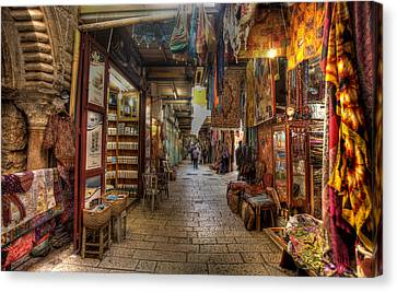 Canvas Print featuring the photograph Old City Market by Uri Baruch