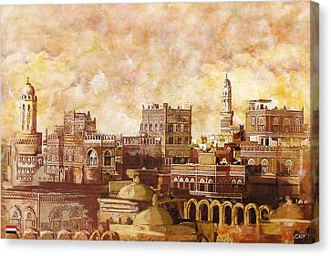 Old City Of Sanaa Canvas Print by Catf
