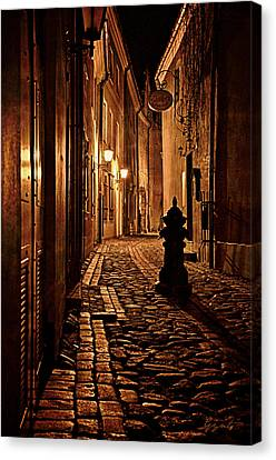 Old City Street In The Night Canvas Print by Gynt
