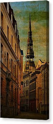 Old City Street - Stylized To Old Image Canvas Print by Gynt