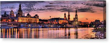Old City Sunset Panorama Canvas Print