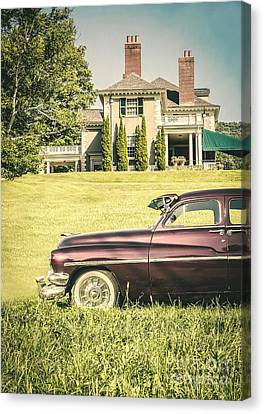 1951 Mercury Sedan In Front Of Large Mansion Canvas Print by Edward Fielding