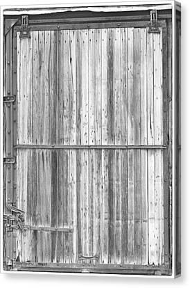 Old Classic Colorado Railroad Car Door Bw Canvas Print