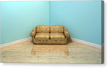 Old Classic Sofa In A Room Canvas Print by Allan Swart