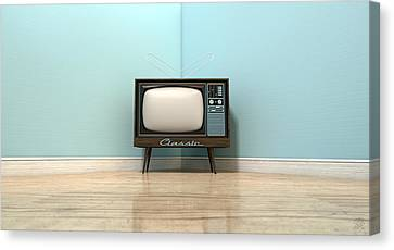 Old Classic Television In A Room Canvas Print