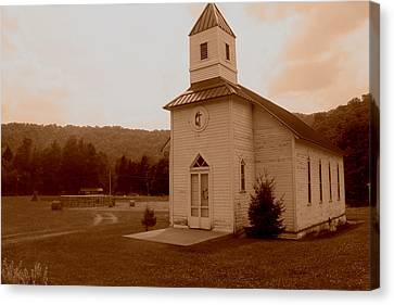 Old Country Church Sepia Canvas Print by Dale Bradley