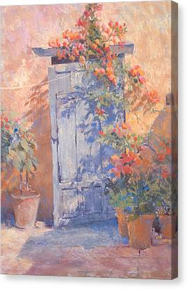 Old Courtyard Door Canvas Print by Jackie Simmonds