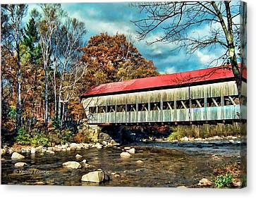 Old Covered Bridge Canvas Print by Kenny Francis