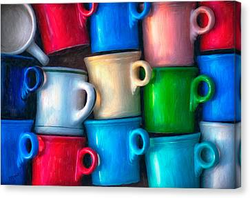 Old Cups For Sale Canvas Print by Brenda Bryant