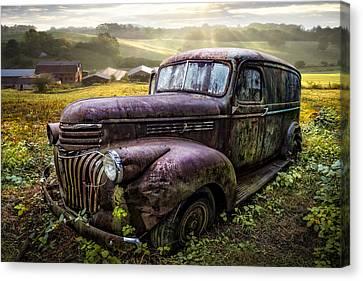 Old Dairy Farm Truck Canvas Print by Debra and Dave Vanderlaan