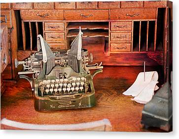 Old Desk With Type Writer Canvas Print