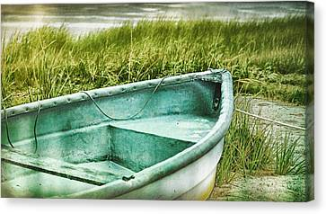 Cape Cod Canvas Print - Old Dinghy On The Beach Cape Cod Ma Retro Feel by Marianne Campolongo
