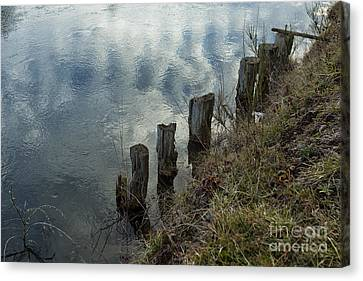 Old Dock Supports Along The Canal Bank - No 1 Canvas Print by Belinda Greb