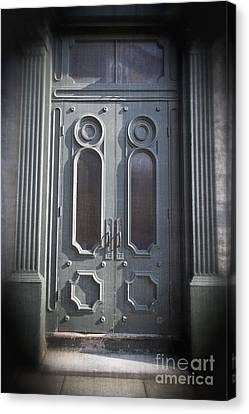 Flower Boxes Canvas Print - Old Doorway Quebec City by Edward Fielding