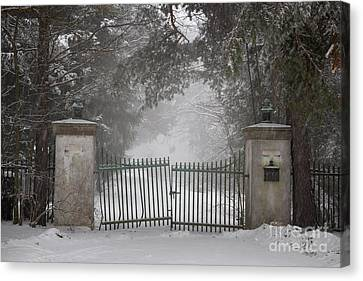 Old Driveway Gate In Winter Canvas Print by Elena Elisseeva