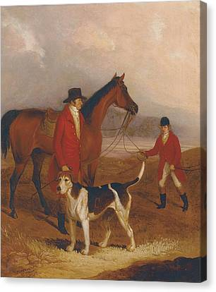 Man And Dog Canvas Print - Old Druid With Richard King Sampson by Thomas Henwood