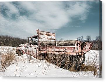Old Dump Truck - Winter Landscape Canvas Print by Gary Heller
