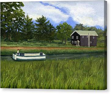 Canvas Print featuring the painting Old Erie by Lynne Reichhart