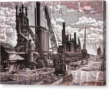 Canvas Print featuring the painting Old Factory by Gregory Dyer