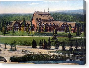 Old Faithful Inn Yellowstone Np 1928 Canvas Print by NPS Photo Asahel Curtis