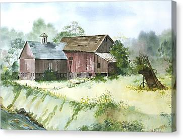 Canvas Print featuring the painting Old Farm Buildings by Susan Crossman Buscho