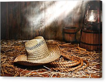 Old Farmer Hat And Rope Canvas Print