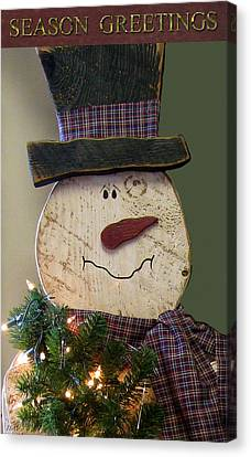 Old Fashion Snowman Card Canvas Print by Debra     Vatalaro
