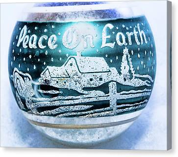 Canvas Print featuring the photograph Christmas Tree Ornament Peace On Earth  by Vizual Studio
