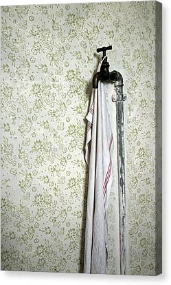 Old Fashioned Faucet And Flowery Wallpaper Canvas Print by Matthias Hauser