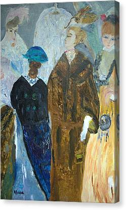Canvas Print featuring the painting Old Fashioned Women by Aleezah Selinger