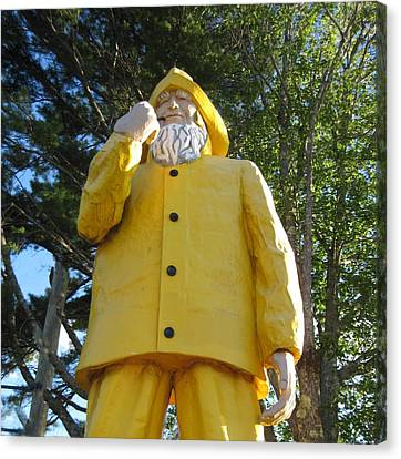 Old Fisherman Statue Boothbay Harbor Maine Canvas Print by Patricia E Sundik