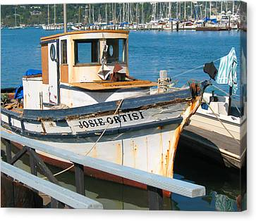 Old Fishing Boat In Sausalito Canvas Print by Connie Fox