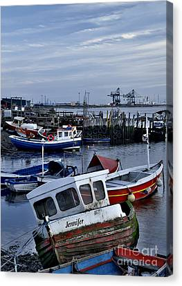 Paddys Hole Canvas Print - Old Fishing Boats by Martyn Arnold