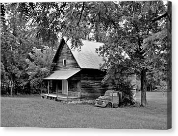 Old Ford And Cabin Canvas Print by Bob Jackson