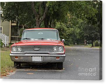 Old Fords Canvas Print - Old Ford Galaxy In The Rain by Edward Fielding