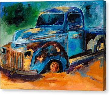 Rusted Cars Canvas Print - Old Ford In The Back Of The Field by Elise Palmigiani