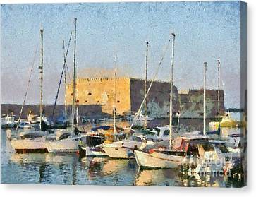 Port Canvas Print - Painting Of Old Fortress by George Atsametakis