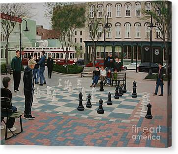 Old Galveston Square Canvas Print by Jimmie Bartlett