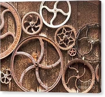 Old Gears In Genoa Nevada Canvas Print by Artist and Photographer Laura Wrede