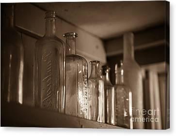 Old Glass Bottles Canvas Print by Edward Fielding